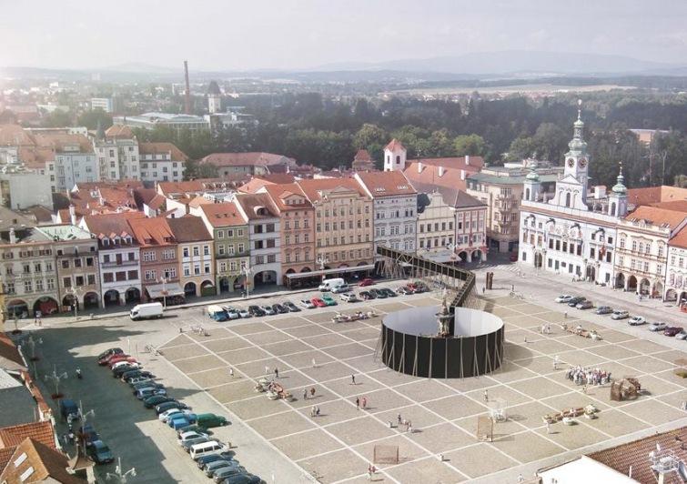 Architekt Jan Šépka oddělí na měsíc Samsonovu kašnu v Budějovicích od náměstí