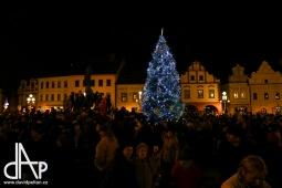 Vánoční strom v Táboře zažehla jiskra