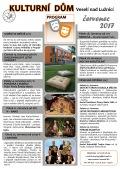 Program Kulturního domu Veselí nad Lužnicí na měsíc červenec 2017