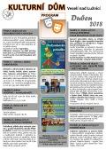 Program Kulturního domu Veselí nad Lužnicí na měsíc duben 2018