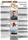 Program Kulturního domu Veselí nad Lužnicí - listopad 2018